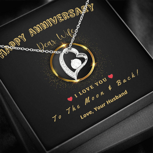 "🥂 To My Wife - Happy Anniversary Forever Love Necklace With ""I Love You To The Moon & Back"" Message Card"