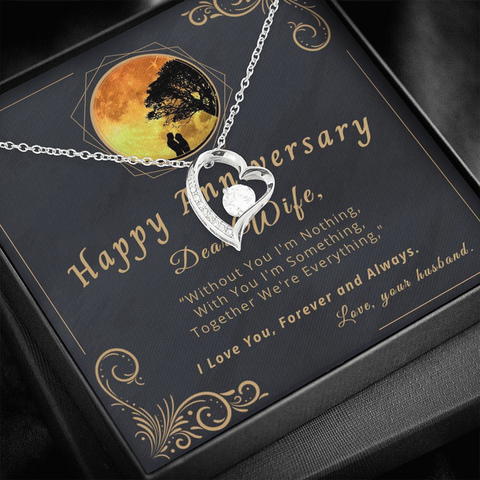 "🥂 To My Wife - Happy Anniversary Forever Love Necklace With ""Without You I'm Nothing"" Message Card"