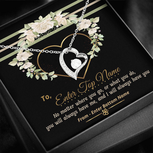 "💎 Forever Love Necklace With Personalized Message Card ""No Matter Where You Go"""