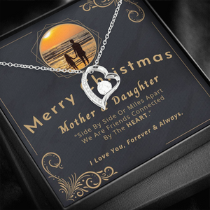 "💎 Mother And Daughter Necklace - Merry Christmas 🎅🎄 Forever Love Necklace With ""Side By Side Or Miles Apart"" Message Card, Gifts for Mom, Gifts for Daughter 👩‍👧"