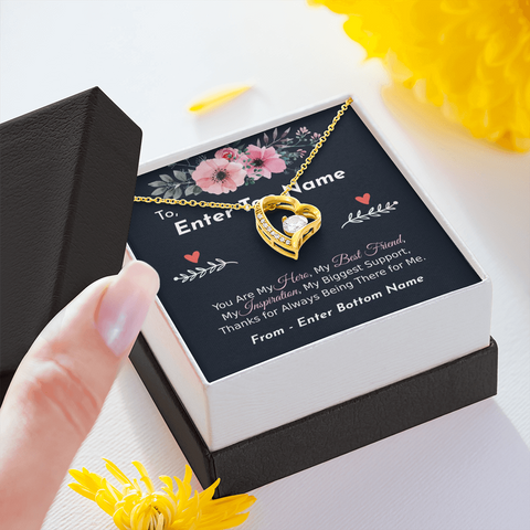 "💎 Forever Love Necklace With Personalized Message Card ""You Are My Hero My Best Friend"""