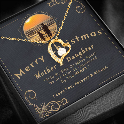 "Image of 💎 Mother And Daughter Necklace - Merry Christmas 🎅🎄 Forever Love Necklace With ""Side By Side Or Miles Apart"" Message Card, Gifts for Mom, Gifts for Daughter 👩‍👧"