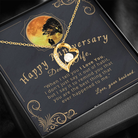 "🥂 To My Wife - Happy Anniversary Forever Love Necklace With ""When I Tell You I Love You"" Message Card"