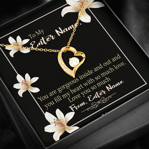 "Image of 💎 Forever Love Necklace With Personalized Message Card ""You Are Gorgeous Inside And Out"""
