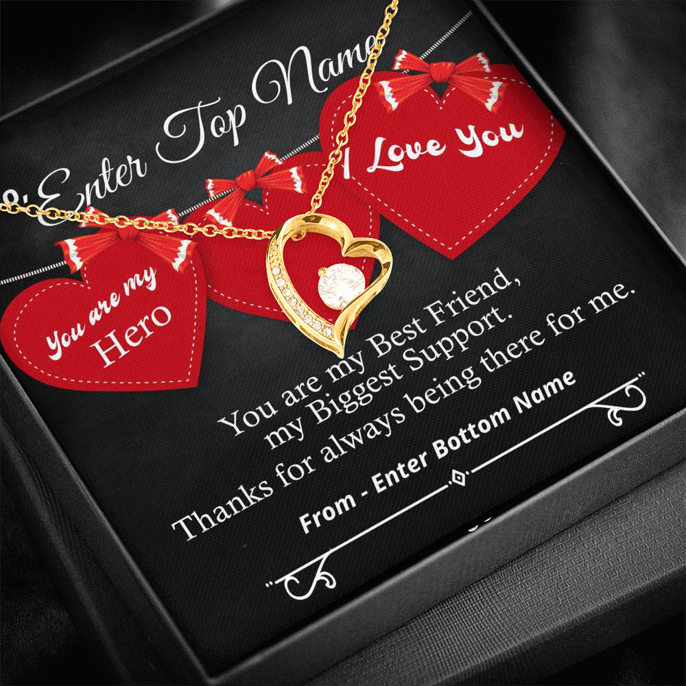 "💎 Forever Love Necklace With Personalized Message Card ""You Are My Hero"""