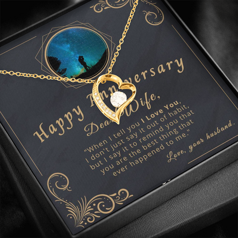 "Image of 🥂 To My Wife - Happy Anniversary Forever Love Necklace With ""When I Tell You I Love You"" Message Card"