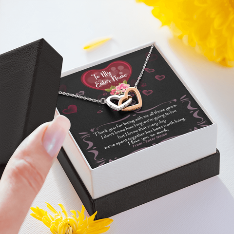 "💎 Interlocking Hearts Necklace With Personalized Message Card ""Thank You For Being With Me"""