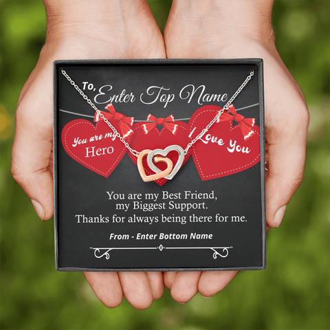 "💎 Interlocking Hearts Necklace With Personalized Message Card ""You Are My HERO"""