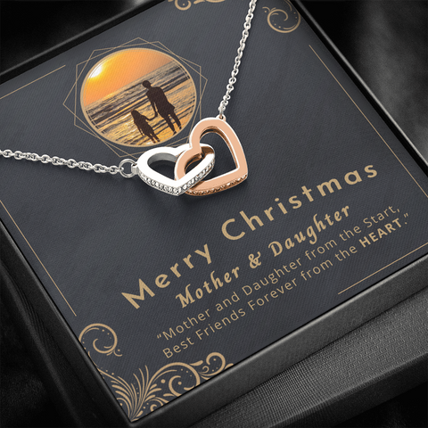 "Image of 💎 Mother And Daughter Necklace - Merry Christmas Interlocking Hearts Necklace With ""Best Friends Forever"" Message Card