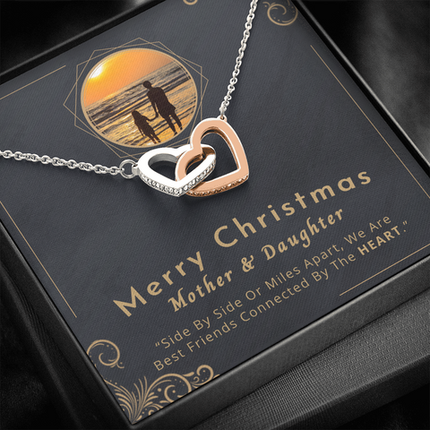 "💎 Mother And Daughter Necklace - Merry Christmas 🎅🎄 Interlocking Hearts Necklace With ""Side By Side Or Miles Apart"" Message Card 