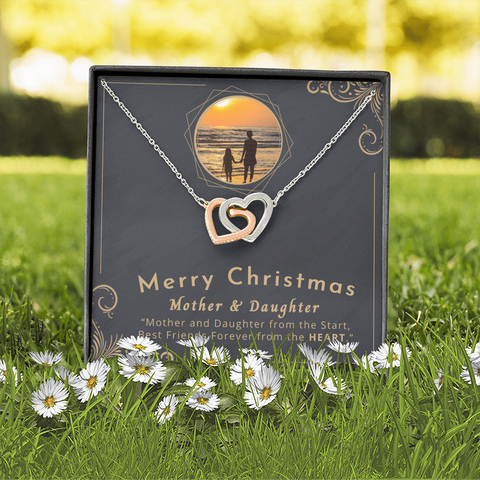 "💎 Mother And Daughter Necklace - Merry Christmas Interlocking Hearts Necklace With ""Best Friends Forever"" Message Card
