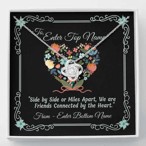 "Image of 💎 Love Knot Necklace With Personalized Message Card ""Side By Side Or Miles Apart"""