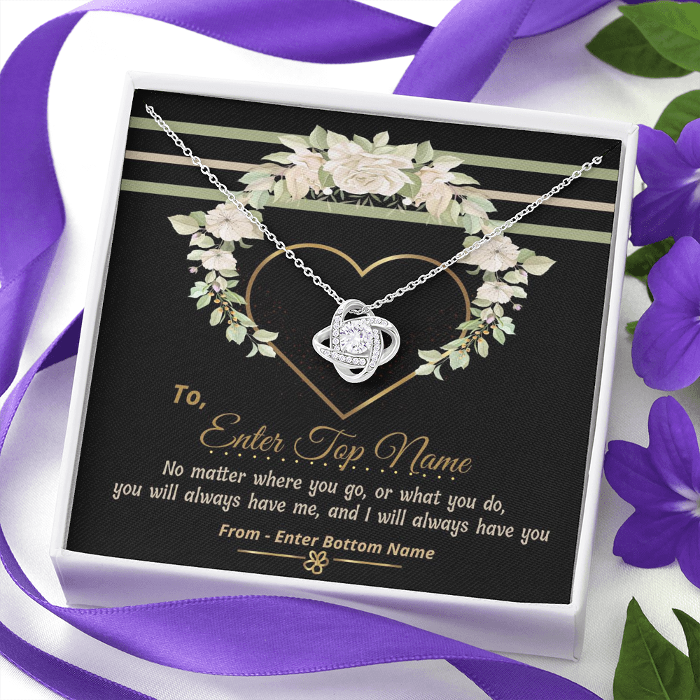 "💎 Love Knot Necklace With Personalized Message Card ""No Matter Where You Go"""