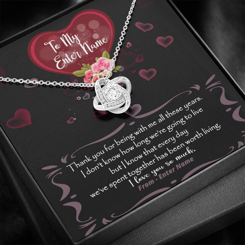 "Image of 💎 Love Knot Necklace With Personalized Message Card ""Thank You For Being With Me All These Years"""