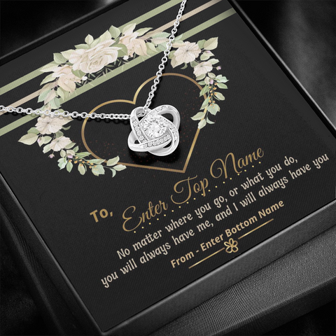 "Image of 💎 Love Knot Necklace With Personalized Message Card ""No Matter Where You Go"""