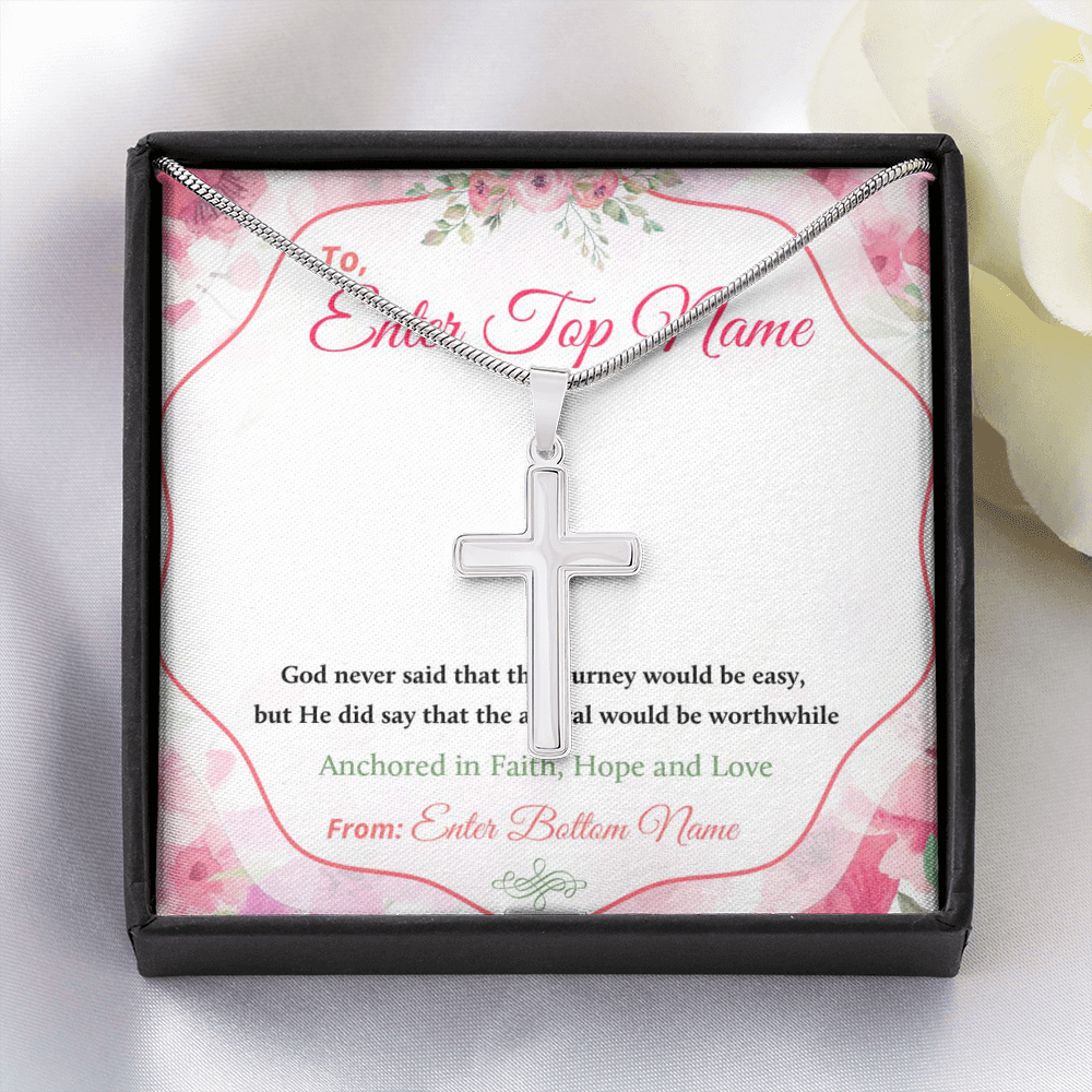 "💎 Artisan Cross Necklace With Personalized Prayer 🙏 Message Card ""God Never Said That The Journey Would Be Easy"""