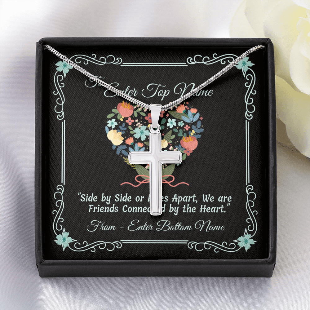 "💎 Artisan Cross Necklace With Personalized Message Card ""Side By Side Or Miles Apart"""
