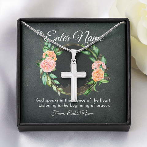 "Image of 💎 Artisan Cross Necklace With Personalized Prayer 🙏 Message Card ""God Speaks In This Silence Of Heart"""