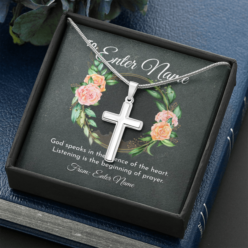 "💎 Artisan Cross Necklace With Personalized Prayer 🙏 Message Card ""God Speaks In This Silence Of Heart"""