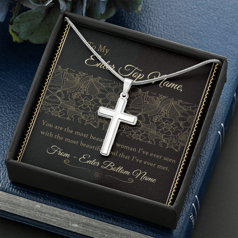 "💎 Artisan Cross Necklace With Personalized Message Card ""You Are The Most Beautiful Women"""