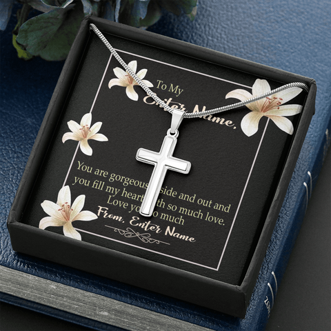 "💎 Artisan Cross Necklace With Personalized Message Card ""You Are Gorgeous Inside Out"""