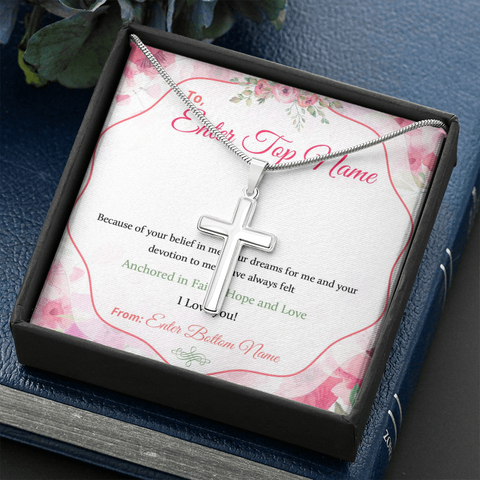 "Image of 💎 Artisan Cross Necklace With Personalized Prayer 🙏 Message Card ""Because Of Your Belief In Me"""