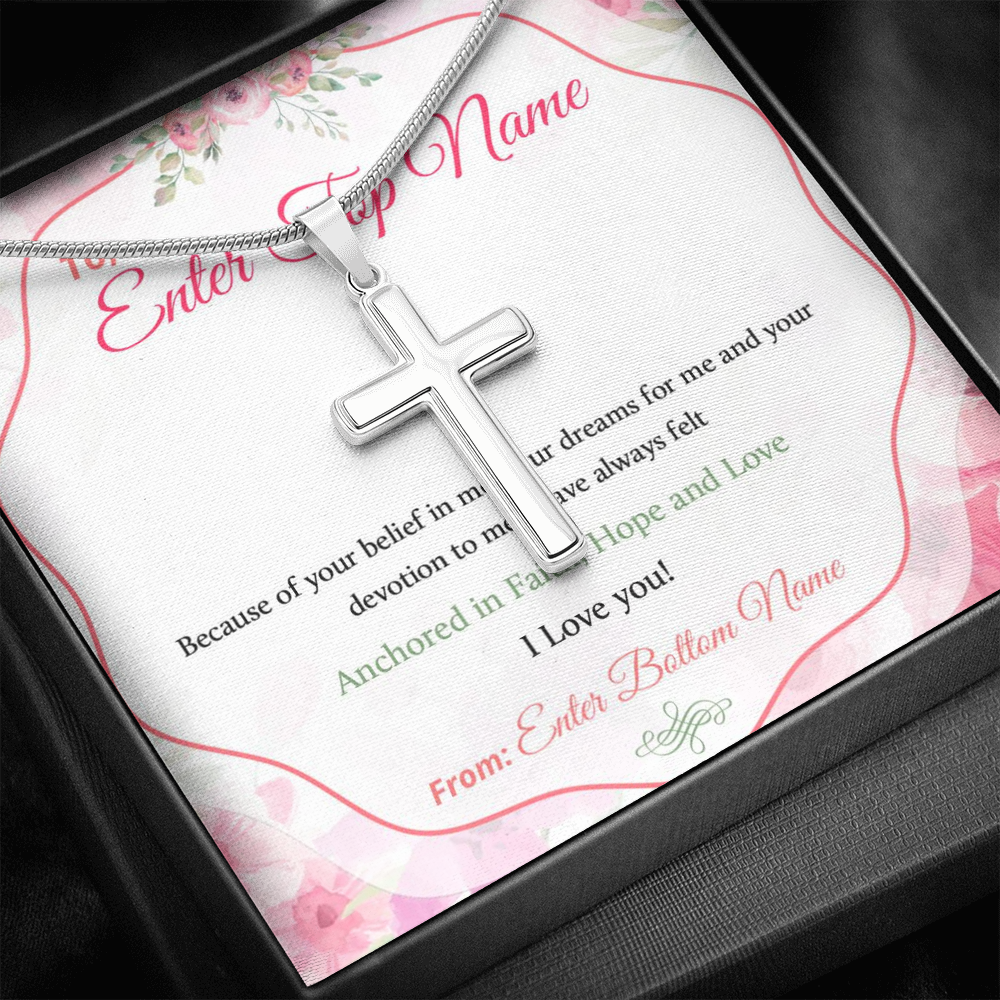 "💎 Artisan Cross Necklace With Personalized Prayer 🙏 Message Card ""Because Of Your Belief In Me"""
