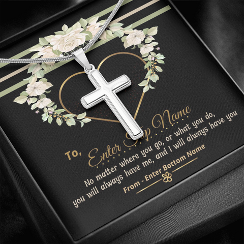 "💎 Artisan Cross Necklace With Personalized Message Card ""No Matter Where You Go"""