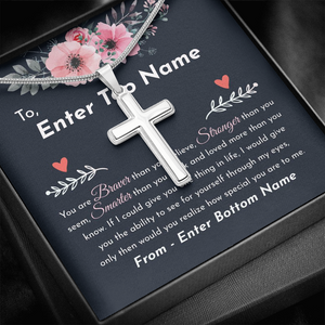"💎 Artisan Cross Necklace With Personalized Message Card ""You Are Braver Than You Believe"""