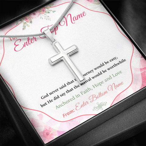 "Image of 💎 Artisan Cross Necklace With Personalized Prayer 🙏 Message Card ""God Never Said That The Journey Would Be Easy"""