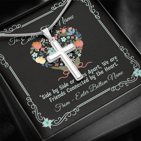 "Image of 💎 Artisan Cross Necklace With Personalized Message Card ""Side By Side Or Miles Apart"""
