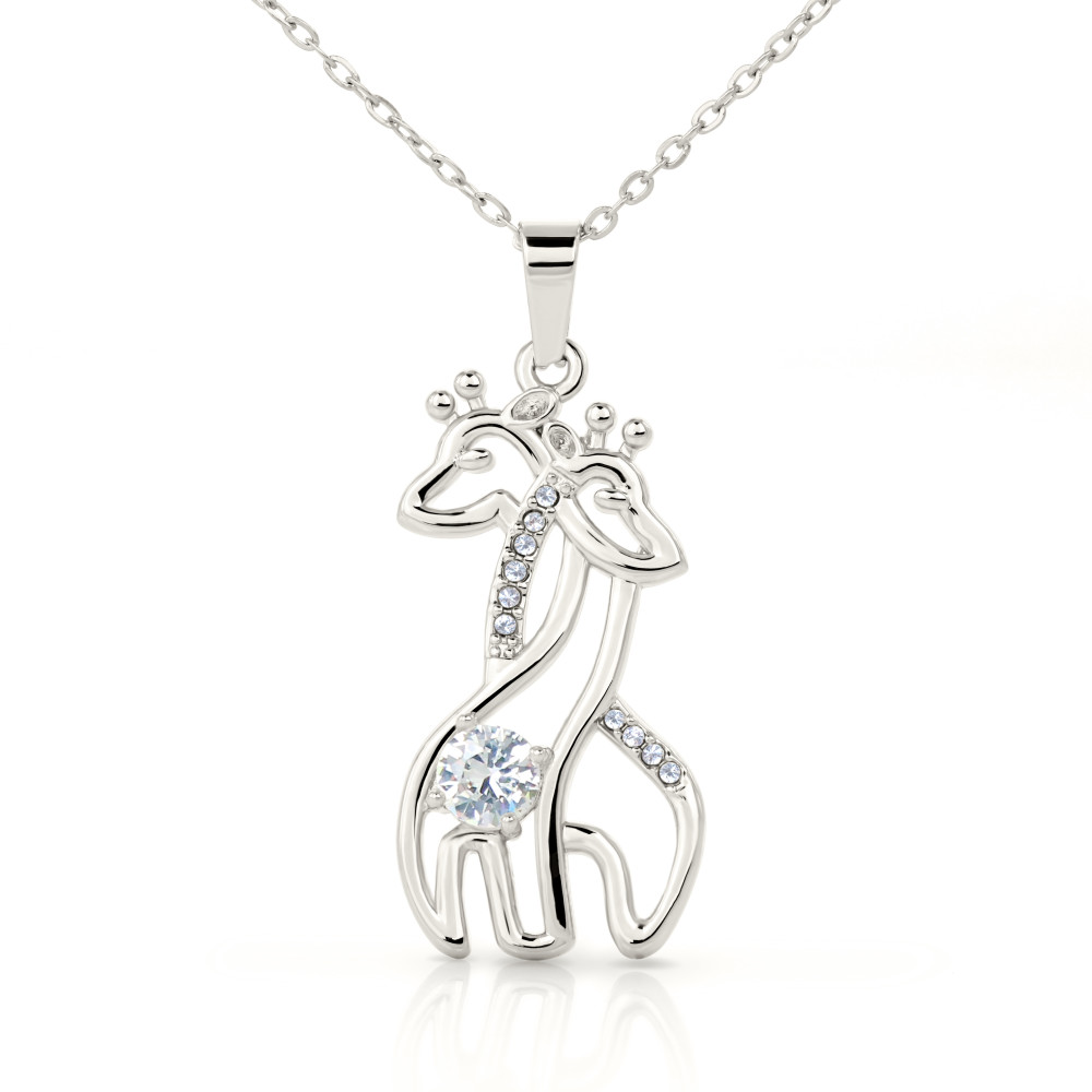 "💎 Mother & Daughter Graceful Love Giraffe 🦒 Necklace With ""Never Truly Apart"" Message Card"