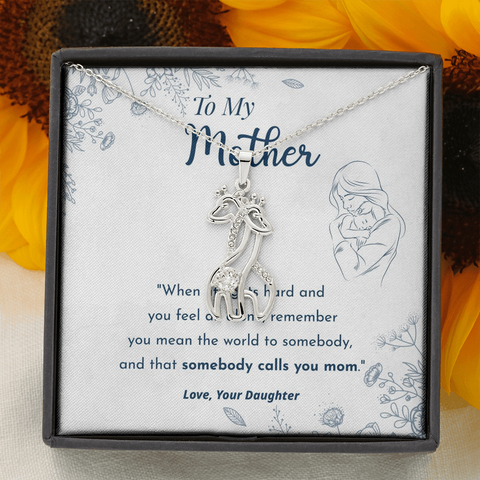 "Image of 💎 To My Mother - Graceful Love Giraffe 🦒 Necklace With ""When Life Gets Hard"" Message Card"