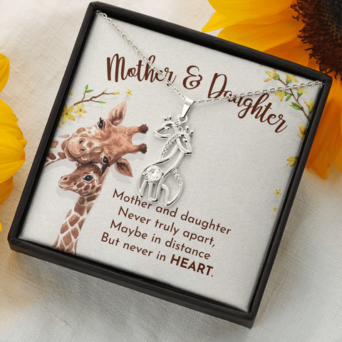 "Image of 💎 Mother & Daughter Graceful Love Giraffe 🦒 Necklace With ""Never Truly Apart"" Message Card"