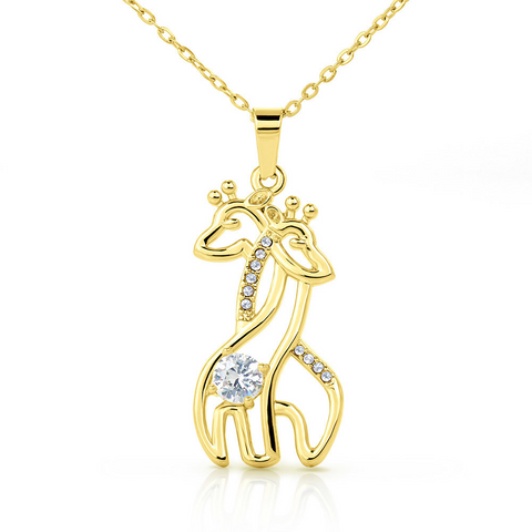 "Image of 💎 Mother & Daughter Graceful Love Giraffe 🦒 Necklace With ""A Mother Holds Her Daughter's Hand"" Message Card"