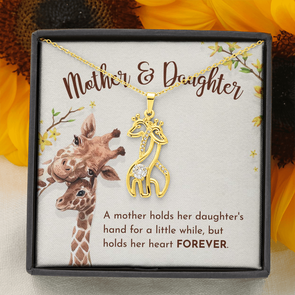 "💎 Mother & Daughter Graceful Love Giraffe 🦒 Necklace With ""A Mother Holds Her Daughter's Hand"" Message Card"