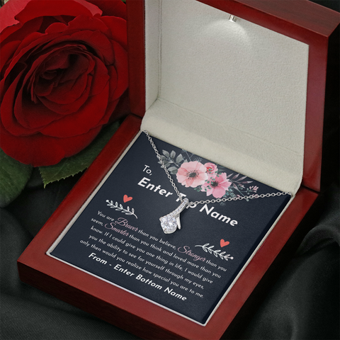 "💎 Alluring Beauty Necklace With Personalized Message Card ""You Are Braver Than You Believe"""