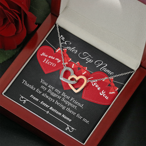 💎 Interlocking Hearts Necklace With Personalized Message Card