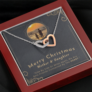 💎 Mother And Daughter Necklace - Merry Christmas 🎅🎄 Interlocking Hearts Necklace With