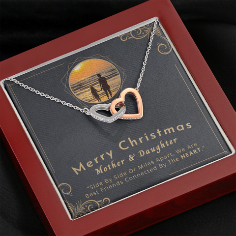 "Image of 💎 Mother And Daughter Necklace - Merry Christmas 🎅🎄 Interlocking Hearts Necklace With ""Side By Side Or Miles Apart"" Message Card 