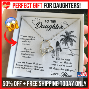 "💎 To My Daughter Necklace, Gifts for Daughter from Mom - Forever Love Necklace With ""If Ever There is Tomorrow"" Message Card"