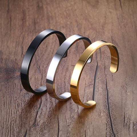 Image of Laser Engraving C shaped Stainless Steel Bracelet Jewelry - Jewelry & Watches/Fashion Jewelry/Bracelets & Bangles
