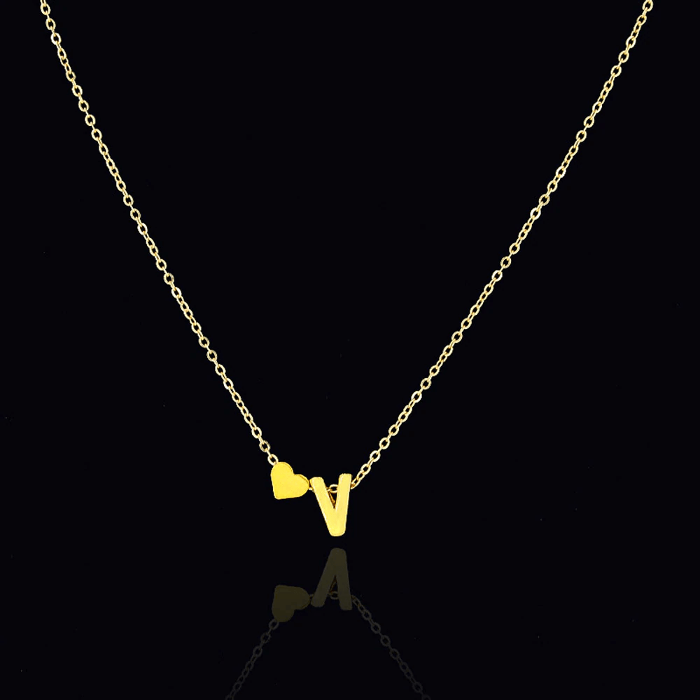 Heart Pendant Necklace With Personalized Letter - Pendant Necklaces