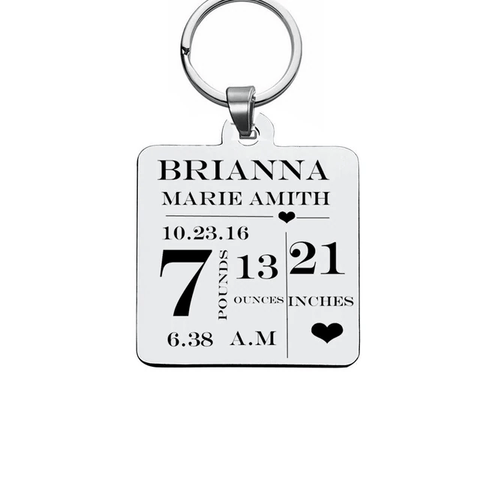 Image of Personalized Baby Stats Tag Stainless Steel Custom Keychains Gift For New Parents - Key Chains