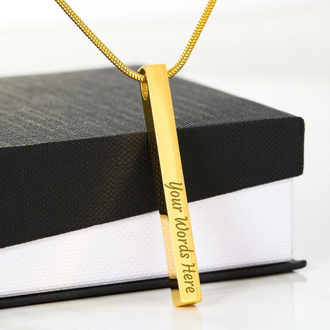"💎 Vertical Stick Engraving Necklace With ""There Are Not Enough Words"" Message Card"
