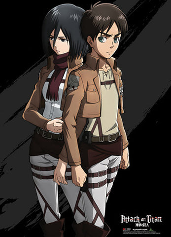 Attack On Titan Eren and Mikasa Wall Scroll 60839