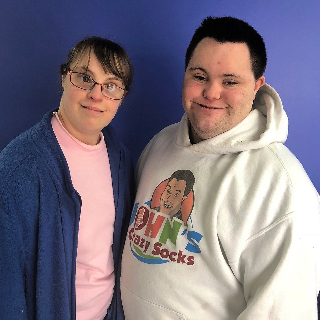 Two Down Syndrome Entrepreneurs Working Together:  John's Crazy Socks Supports Brittany's Baskets of Hope