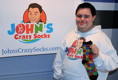 John with Autism Awareness Sock