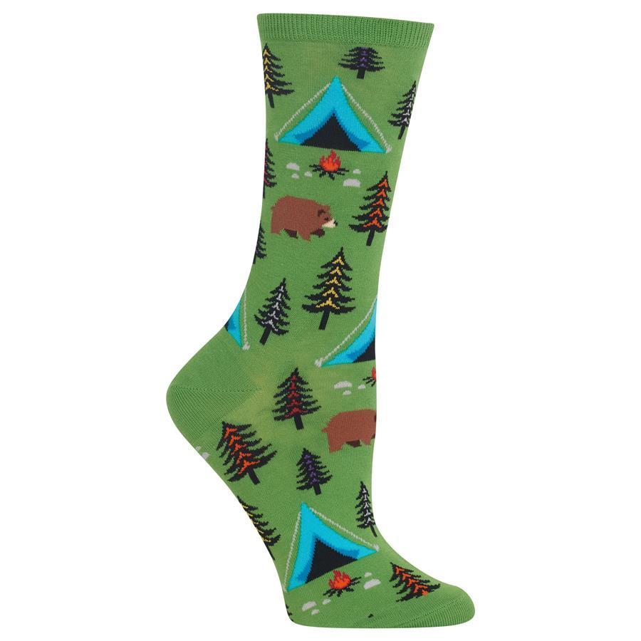 Bear Tent Socks - Green Crew Socks For Women