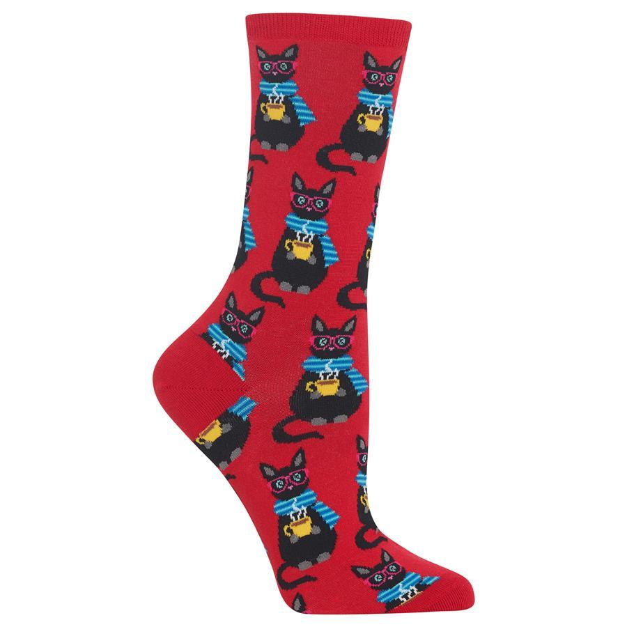Coffee Catz - Red crew socks for women